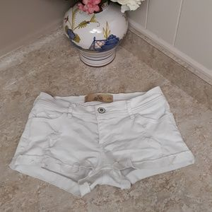 Hollister Distressed Short-Shorts White Low Rise